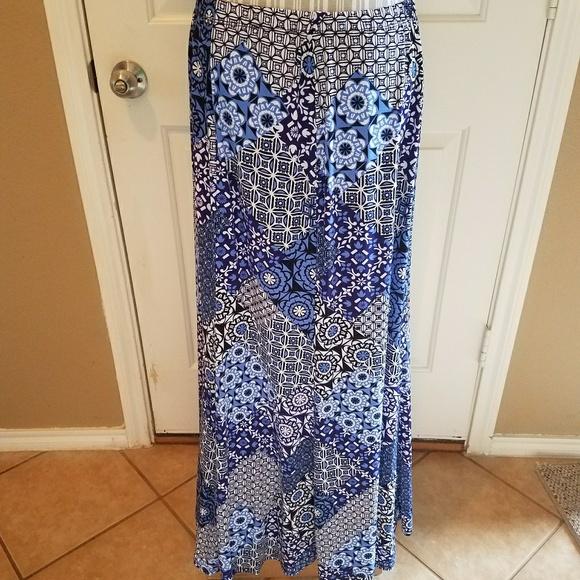 Susan Graver Skirts Blue Liquid Knit Maxi Skirt Large Poshmark